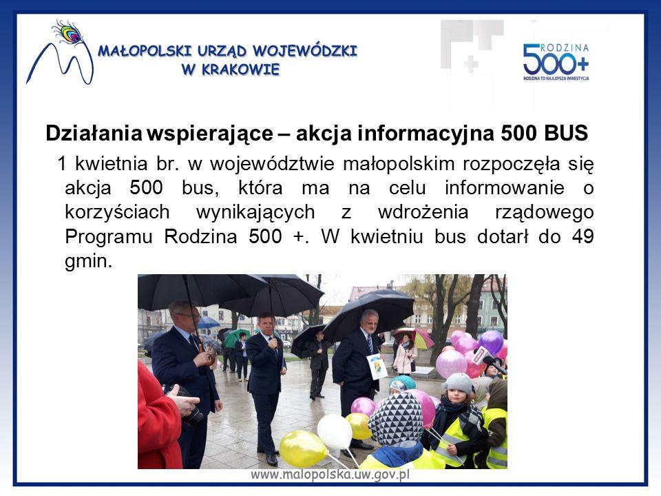 Działania wspierające – akcja informacyjna 500 BUS 1 kwietnia br. w województwie małopolskim rozpoczęła się akcja 500 bus, która ma na celu informowan