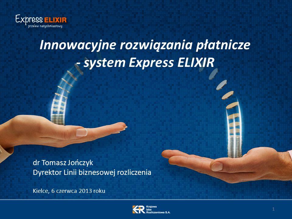 1 Innowacyjne rozwiązania płatnicze - system Express ELIXIR dr Tomasz Jończyk Dyrektor Linii biznesowej rozliczenia Kielce, 6 czerwca 2013 roku
