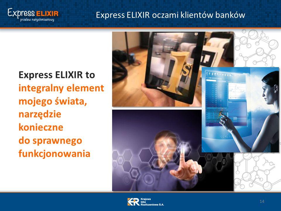 Express ELIXIR oczami klientów banków Express ELIXIR to integralny element mojego świata, narzędzie konieczne do sprawnego funkcjonowania 14