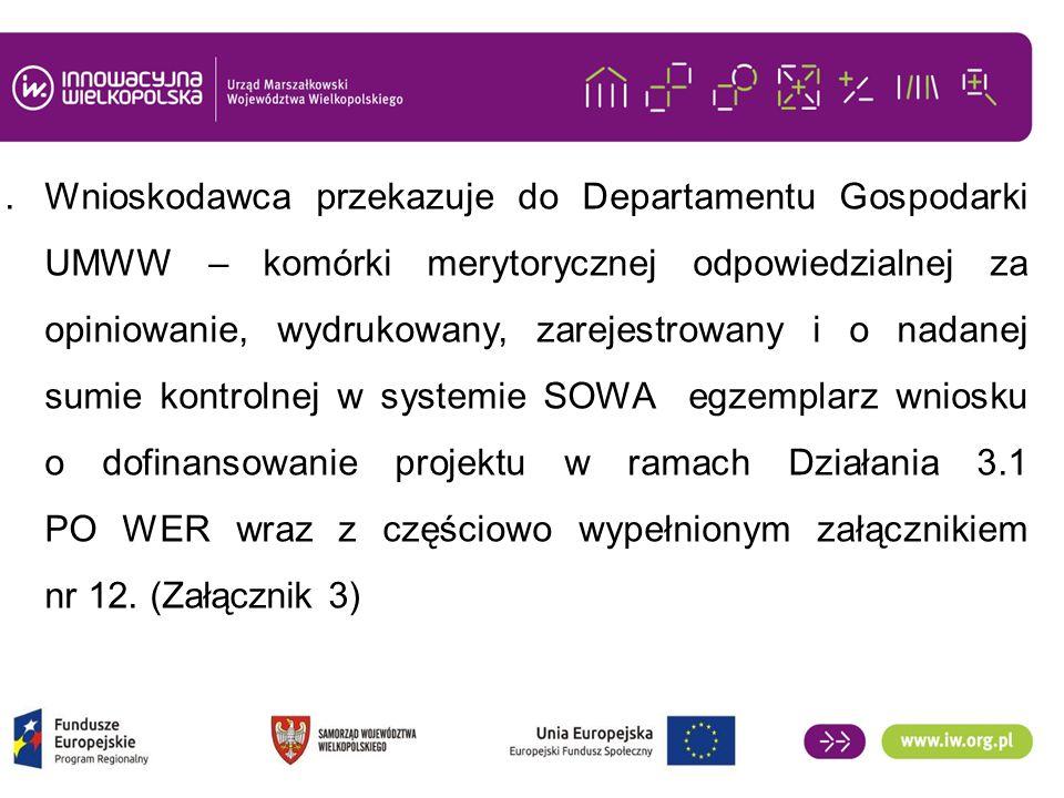 1.Wnioskodawca przekazuje do Departamentu Gospodarki UMWW – komórki merytorycznej odpowiedzialnej za opiniowanie, wydrukowany, zarejestrowany i o nadanej sumie kontrolnej w systemie SOWA egzemplarz wniosku o dofinansowanie projektu w ramach Działania 3.1 PO WER wraz z częściowo wypełnionym załącznikiem nr 12.