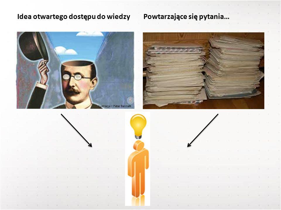 Ilustracja – Peter Bennett Idea otwartego dostępu do wiedzyPowtarzające się pytania…