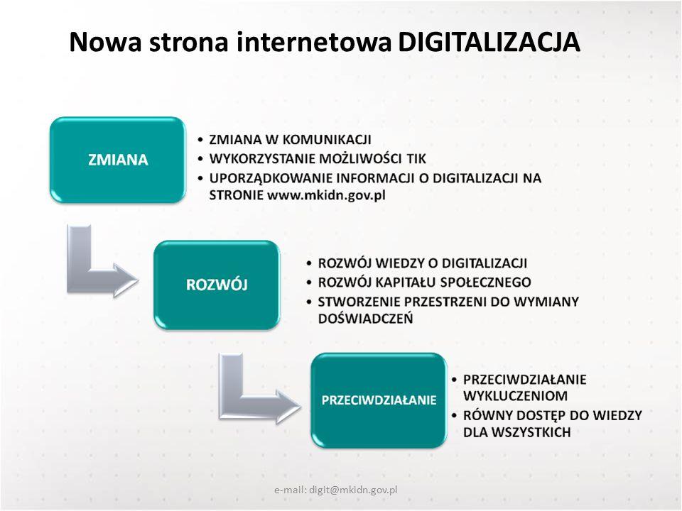 Nowa strona internetowa DIGITALIZACJA e-mail: digit@mkidn.gov.pl