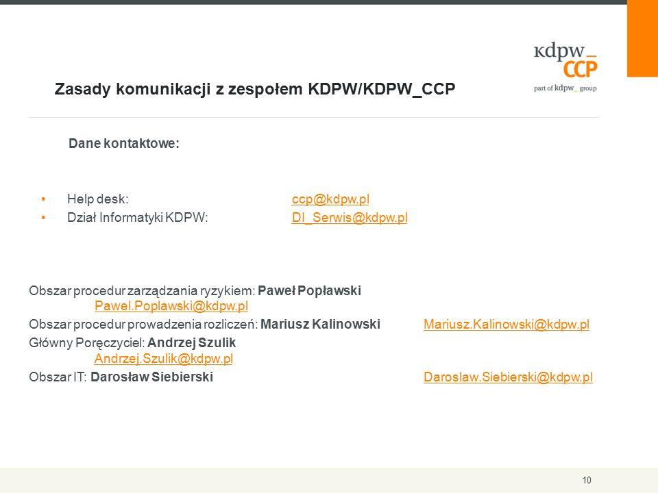 Zasady komunikacji z zespołem KDPW/KDPW_CCP 10 Dane kontaktowe: Help desk: ccp@kdpw.plccp@kdpw.pl Dział Informatyki KDPW: DI_Serwis@kdpw.plDI_Serwis@kdpw.pl Obszar procedur zarządzania ryzykiem: Paweł Popławski Pawel.Poplawski@kdpw.pl Pawel.Poplawski@kdpw.pl Obszar procedur prowadzenia rozliczeń: Mariusz KalinowskiMariusz.Kalinowski@kdpw.plMariusz.Kalinowski@kdpw.pl Główny Poręczyciel: Andrzej Szulik Andrzej.Szulik@kdpw.pl Andrzej.Szulik@kdpw.pl Obszar IT: Darosław Siebierski Daroslaw.Siebierski@kdpw.plDaroslaw.Siebierski@kdpw.pl
