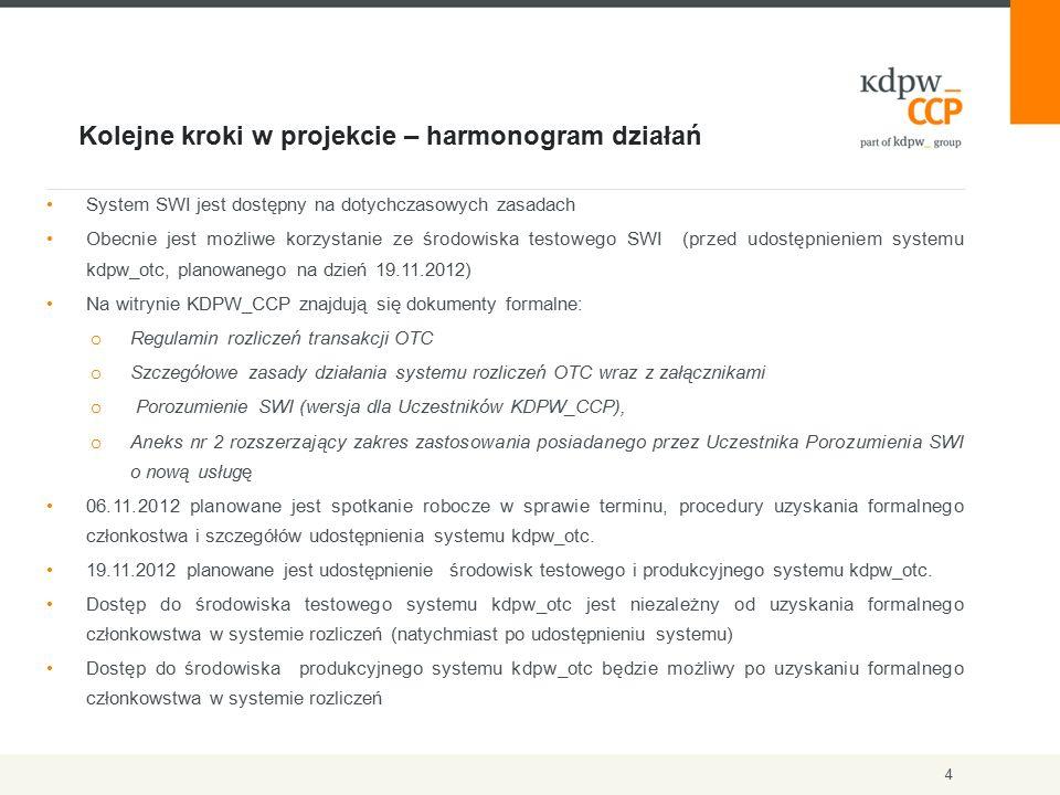 Kolejne kroki w projekcie – harmonogram działań 4 System SWI jest dostępny na dotychczasowych zasadach Obecnie jest możliwe korzystanie ze środowiska testowego SWI (przed udostępnieniem systemu kdpw_otc, planowanego na dzień 19.11.2012) Na witrynie KDPW_CCP znajdują się dokumenty formalne: o Regulamin rozliczeń transakcji OTC o Szczegółowe zasady działania systemu rozliczeń OTC wraz z załącznikami o Porozumienie SWI (wersja dla Uczestników KDPW_CCP), o Aneks nr 2 rozszerzający zakres zastosowania posiadanego przez Uczestnika Porozumienia SWI o nową usługę 06.11.2012 planowane jest spotkanie robocze w sprawie terminu, procedury uzyskania formalnego członkostwa i szczegółów udostępnienia systemu kdpw_otc.