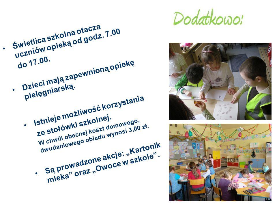 Świetlica szkolna otacza uczniów opieką od godz. 7.00 do 17.00.