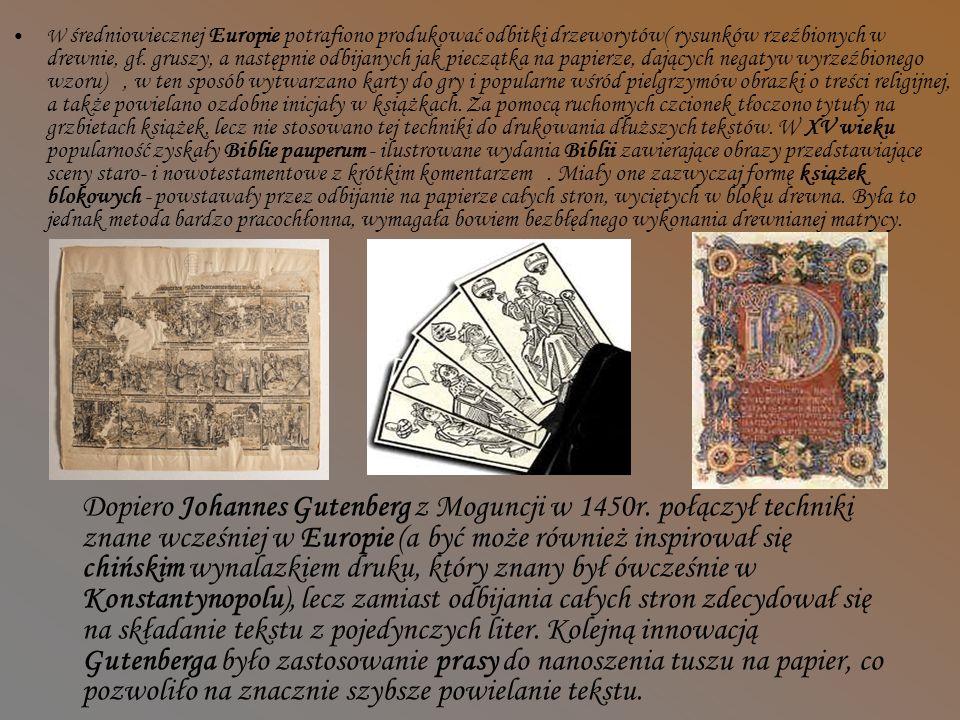 Wynalezienie druku przez Gutenberga,czyli wynalazek tysiąclecia W starożytnej i średniowiecznej Europie nie znano innych metod powielania tekstu niż jego ręczne przepisywanie.