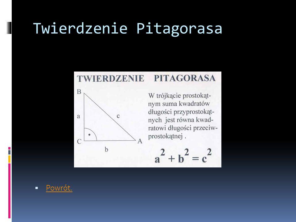 Twierdzenie Pitagorasa  Powrót. Powrót.
