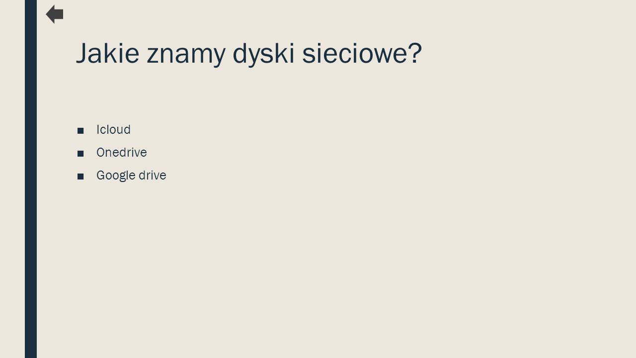 Jakie znamy dyski sieciowe? ■Icloud ■Onedrive ■Google drive