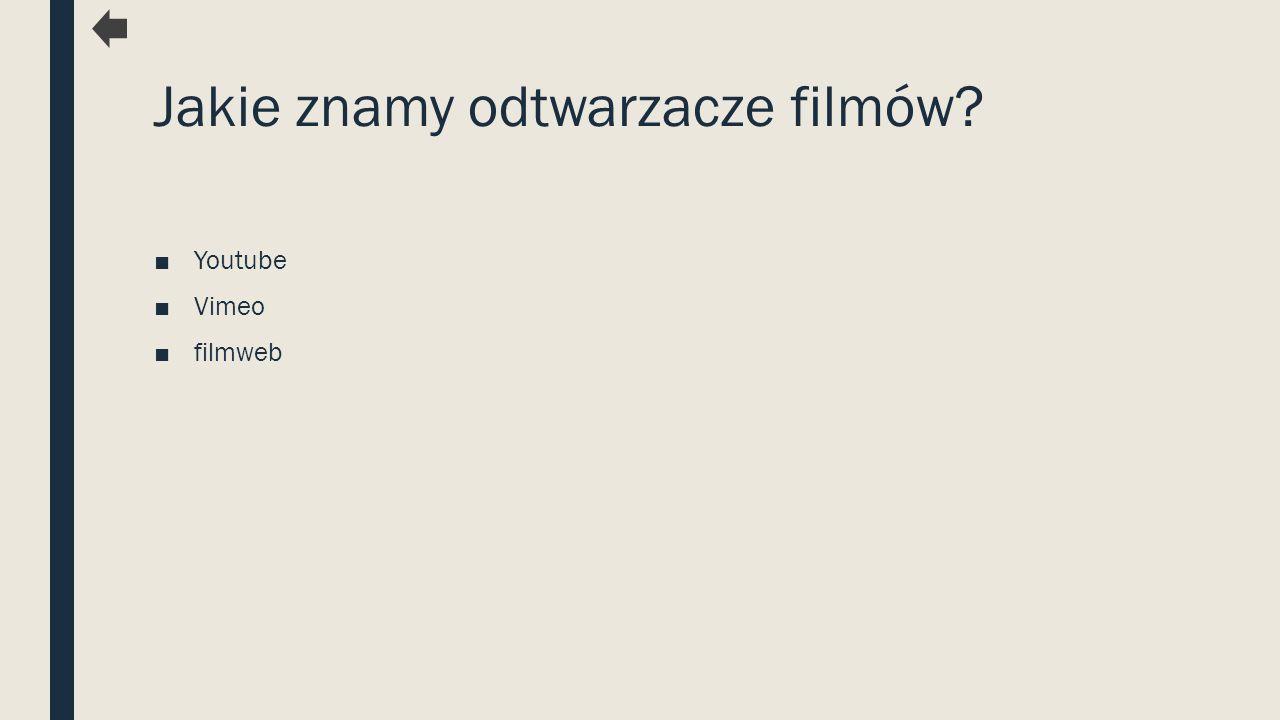 Jakie znamy odtwarzacze filmów? ■Youtube ■Vimeo ■filmweb