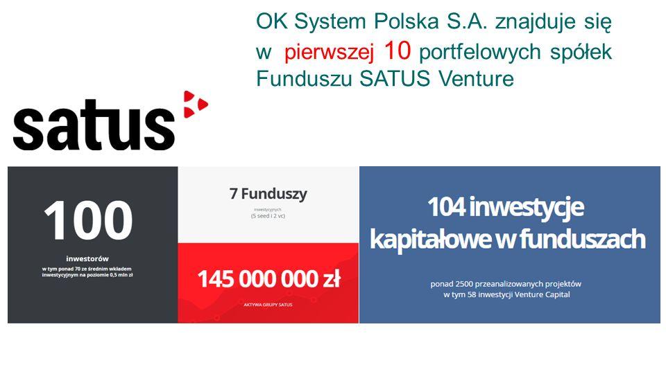 OK System Polska S.A. znajduje się w pierwszej 10 portfelowych spółek Funduszu SATUS Venture