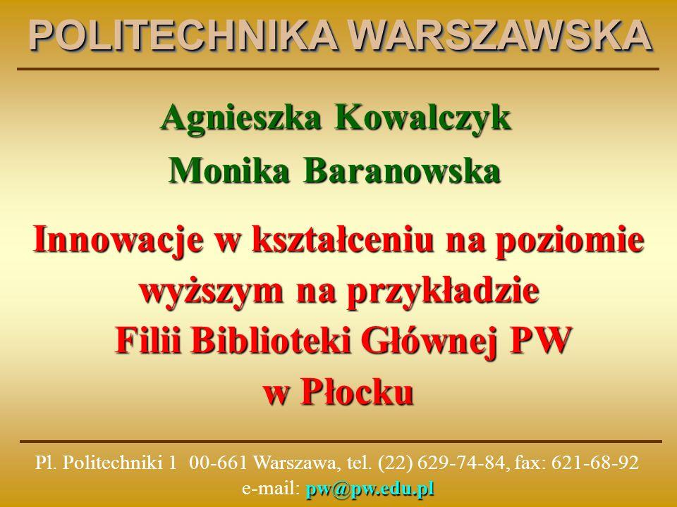 Usługi informacyjno – biblioteczne świadczone przez BG PW - informacja o zbiorach biblioteki - pomoc w posługiwaniu się katalogiem biblioteki - informacja bibliograficzna i faktograficzna - lokalizacja materiałów źródłowych w bibliotekach polskich i zagranicznych - informacje dla piszących prace dyplomowe - szkolenia dla studentów I roku - szkolenia dziedzinowe dla dyplomantów i doktorantów - fachowa pomoc w korzystaniu ze źródeł elektronicznych - dostęp do baz danych - dostęp do czasopism elektronicznych - analiza cytowań prac naukowych (baza SCI) - informacja o wskaźniku Impact Factor (baza JCR – ocena poziomu czasopism naukowych) - informacja normalizacyjna http://www.bg.pw.edu.pl
