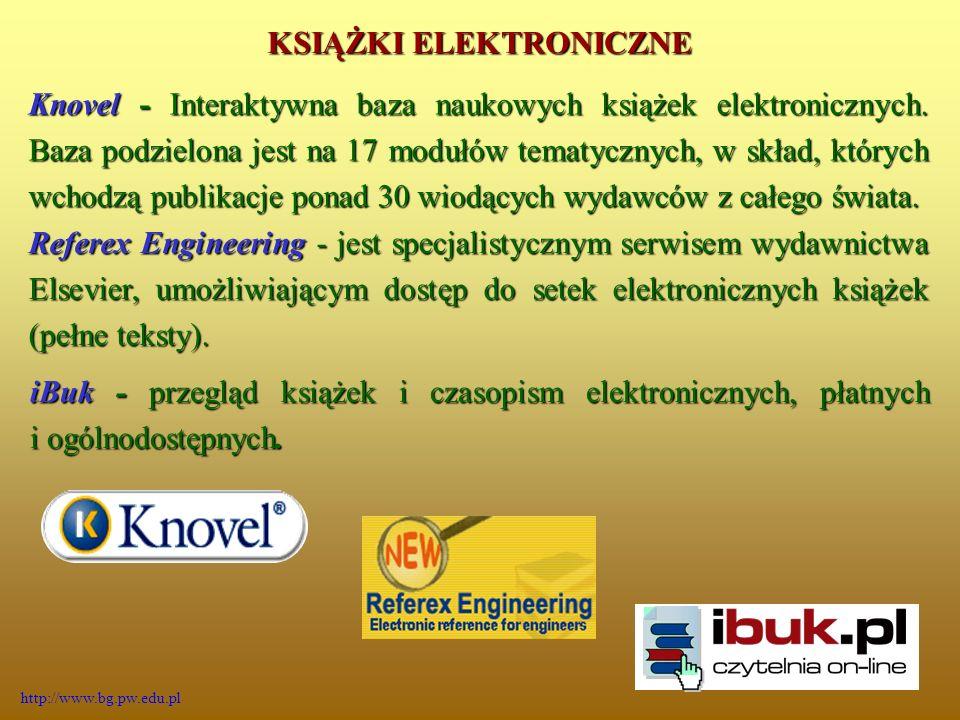 Knovel - Interaktywna baza naukowych książek elektronicznych.