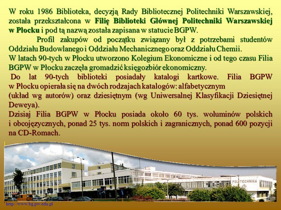 BAZY I KATALOGI POLSKIE DOKTO - Baza zawiera informacje o pracach doktorskich i habilitacyjnych w PW.