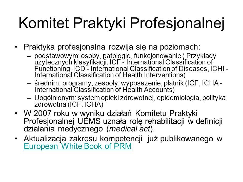 Komitet Praktyki Profesjonalnej Praktyka profesjonalna rozwija się na poziomach: –podstawowym: osoby, patologie, funkcjonowanie ( Przykłady użytecznych klasyfikacji: ICF - International Classification of Functioning, ICD - International Classification of Diseases, ICHI - International Classification of Health Interventions) –średnim: programy, zespoły, wyposażenie, płatnik (ICF, ICHA - International Classification of Health Accounts) –Uogólnionym: system opieki zdrowotnej, epidemiologia, polityka zdrowotna (ICF, ICHA) W 2007 roku w wyniku działań Komitetu Praktyki Profesjonalnej UEMS uznała rolę rehabilitacji w definicji działania medycznego (medical act).