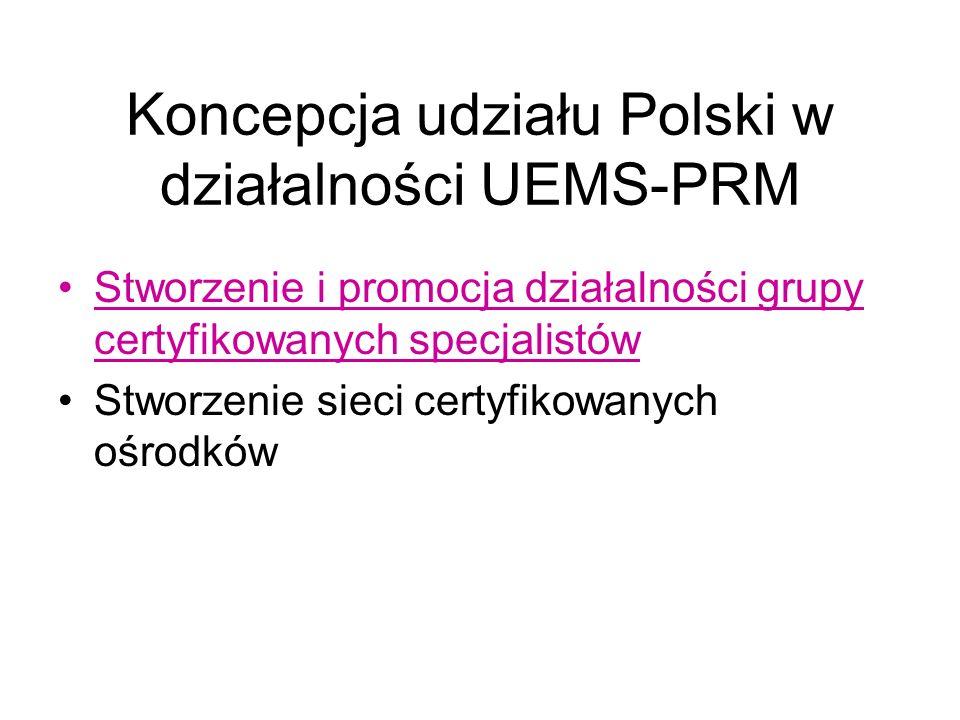 Koncepcja udziału Polski w działalności UEMS-PRM Stworzenie i promocja działalności grupy certyfikowanych specjalistów Stworzenie sieci certyfikowanych ośrodków