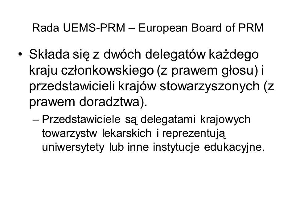 Rada UEMS-PRM – European Board of PRM Składa się z dwóch delegatów każdego kraju członkowskiego (z prawem głosu) i przedstawicieli krajów stowarzyszonych (z prawem doradztwa).