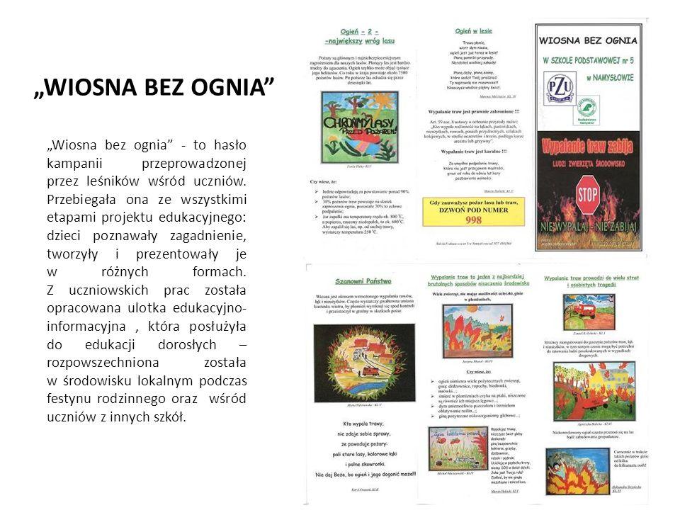 """""""WIOSNA BEZ OGNIA """"Wiosna bez ognia - to hasło kampanii przeprowadzonej przez leśników wśród uczniów."""