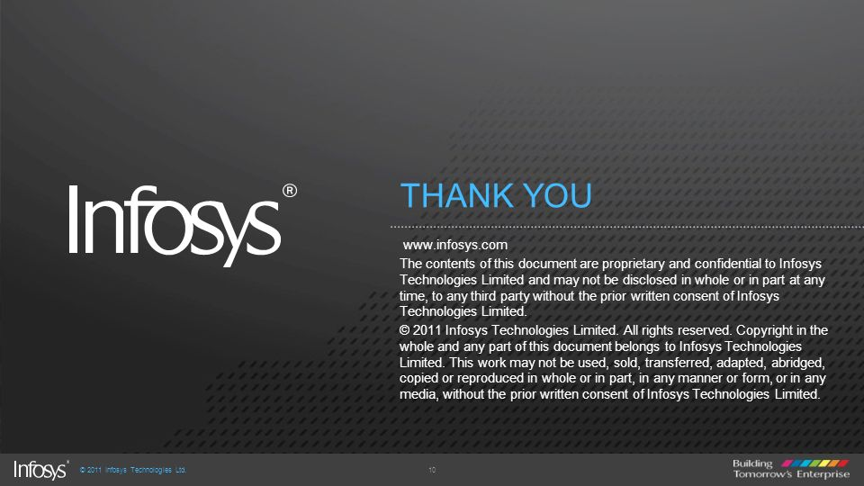 THANK YOU www.infosys.com The contents of this document are proprietary and confidential to Infosys Technologies Limited and may not be disclosed in w