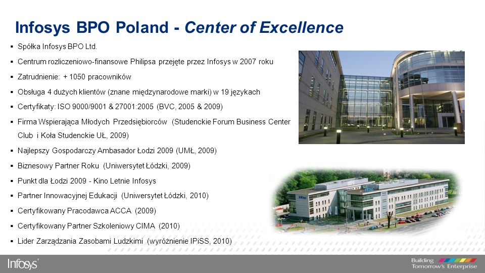 Infosys BPO Poland - Center of Excellence  Spółka Infosys BPO Ltd.