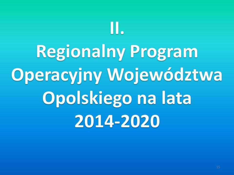 15 II. Regionalny Program Operacyjny Województwa Opolskiego na lata 2014-2020 II.
