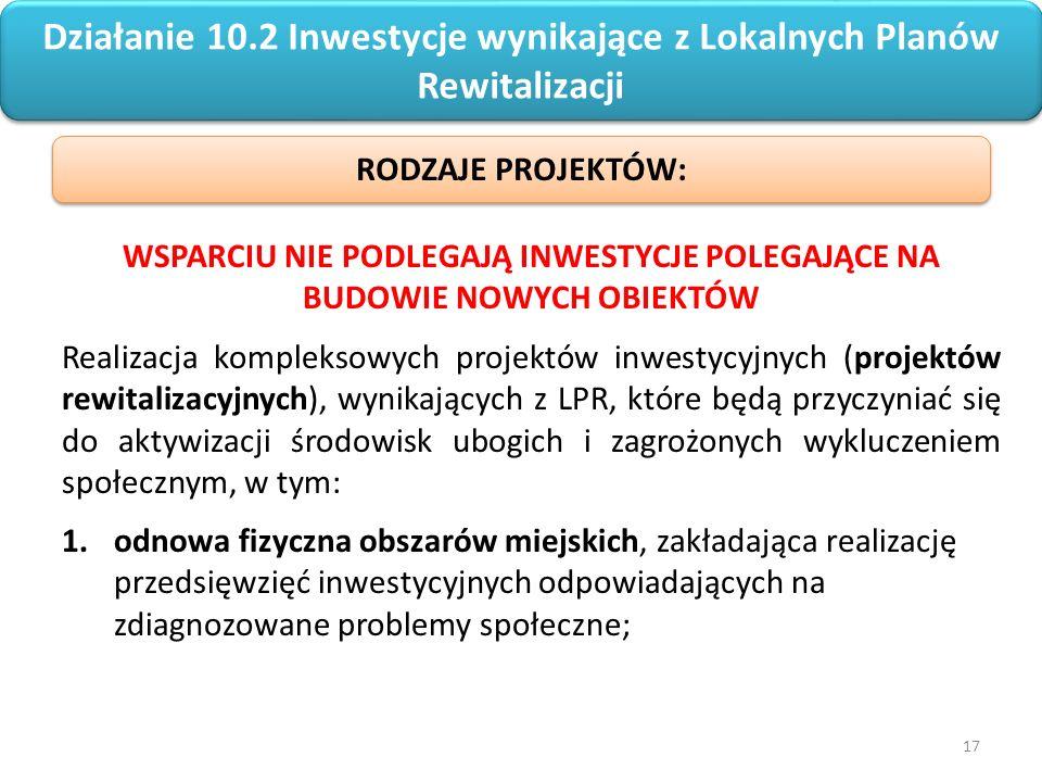17 Regionalny Program Operacyjny Województwa Opolskiego na lata 2014-2020 Działanie 10.2 Inwestycje wynikające z Lokalnych Planów Rewitalizacji WSPARCIU NIE PODLEGAJĄ INWESTYCJE POLEGAJĄCE NA BUDOWIE NOWYCH OBIEKTÓW Realizacja kompleksowych projektów inwestycyjnych (projektów rewitalizacyjnych), wynikających z LPR, które będą przyczyniać się do aktywizacji środowisk ubogich i zagrożonych wykluczeniem społecznym, w tym: 1.odnowa fizyczna obszarów miejskich, zakładająca realizację przedsięwzięć inwestycyjnych odpowiadających na zdiagnozowane problemy społeczne; RODZAJE PROJEKTÓW: