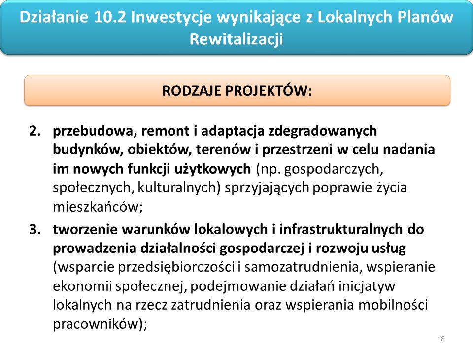 18 Regionalny Program Operacyjny Województwa Opolskiego na lata 2014-2020 2.przebudowa, remont i adaptacja zdegradowanych budynków, obiektów, terenów i przestrzeni w celu nadania im nowych funkcji użytkowych (np.