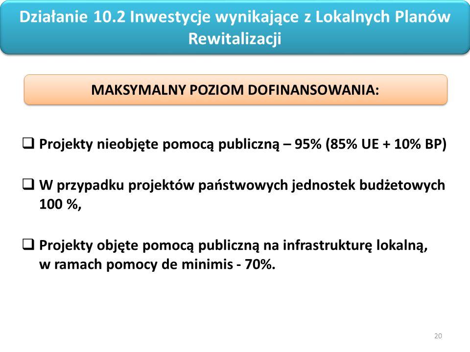 20 Regionalny Program Operacyjny Województwa Opolskiego na lata 2014-2020  Projekty nieobjęte pomocą publiczną – 95% (85% UE + 10% BP)  W przypadku projektów państwowych jednostek budżetowych 100 %,  Projekty objęte pomocą publiczną na infrastrukturę lokalną, w ramach pomocy de minimis - 70%.