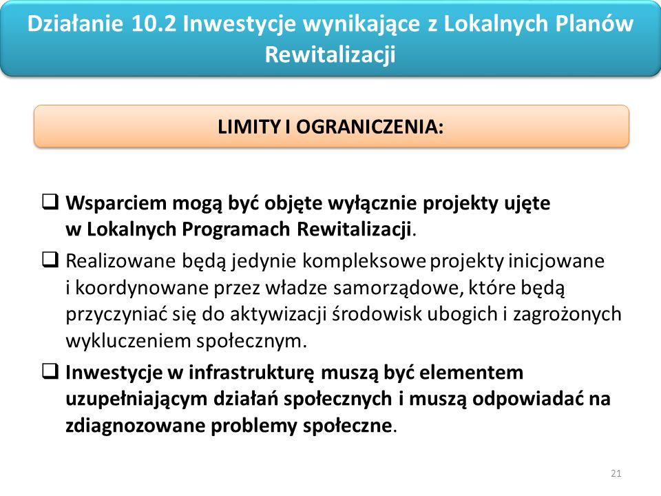 21 Regionalny Program Operacyjny Województwa Opolskiego na lata 2014-2020  Wsparciem mogą być objęte wyłącznie projekty ujęte w Lokalnych Programach Rewitalizacji.