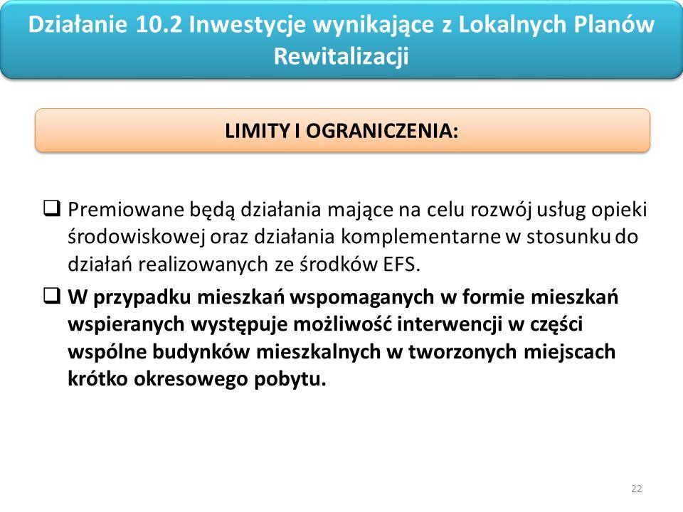 22 Regionalny Program Operacyjny Województwa Opolskiego na lata 2014-2020  Premiowane będą działania mające na celu rozwój usług opieki środowiskowej oraz działania komplementarne w stosunku do działań realizowanych ze środków EFS.