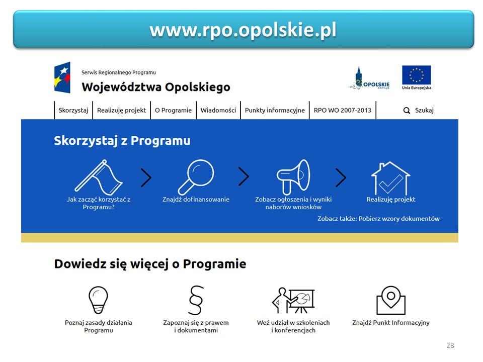 28 Sieć Punktów Informacyjnych Funduszy Europejskich w województwie opolskim www.rpo.opolskie.pl