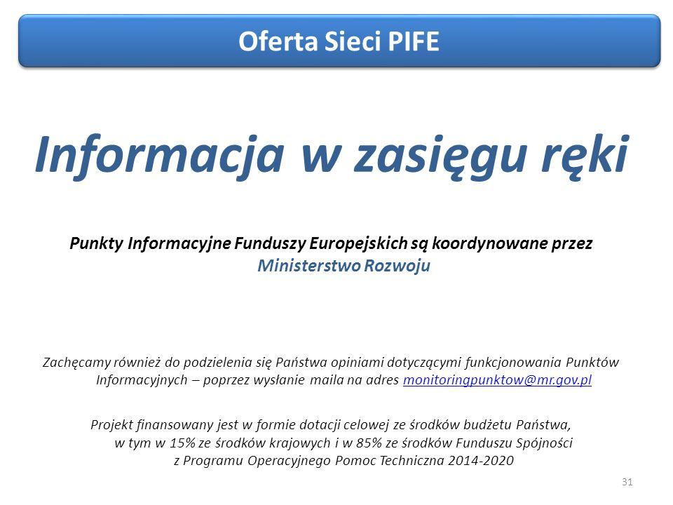 31 Informacja w zasięgu ręki Punkty Informacyjne Funduszy Europejskich są koordynowane przez Ministerstwo Rozwoju Zachęcamy również do podzielenia się Państwa opiniami dotyczącymi funkcjonowania Punktów Informacyjnych – poprzez wysłanie maila na adres monitoringpunktow@mr.gov.plmonitoringpunktow@mr.gov.pl Projekt finansowany jest w formie dotacji celowej ze środków budżetu Państwa, w tym w 15% ze środków krajowych i w 85% ze środków Funduszu Spójności z Programu Operacyjnego Pomoc Techniczna 2014-2020 Oferta Sieci PIFE