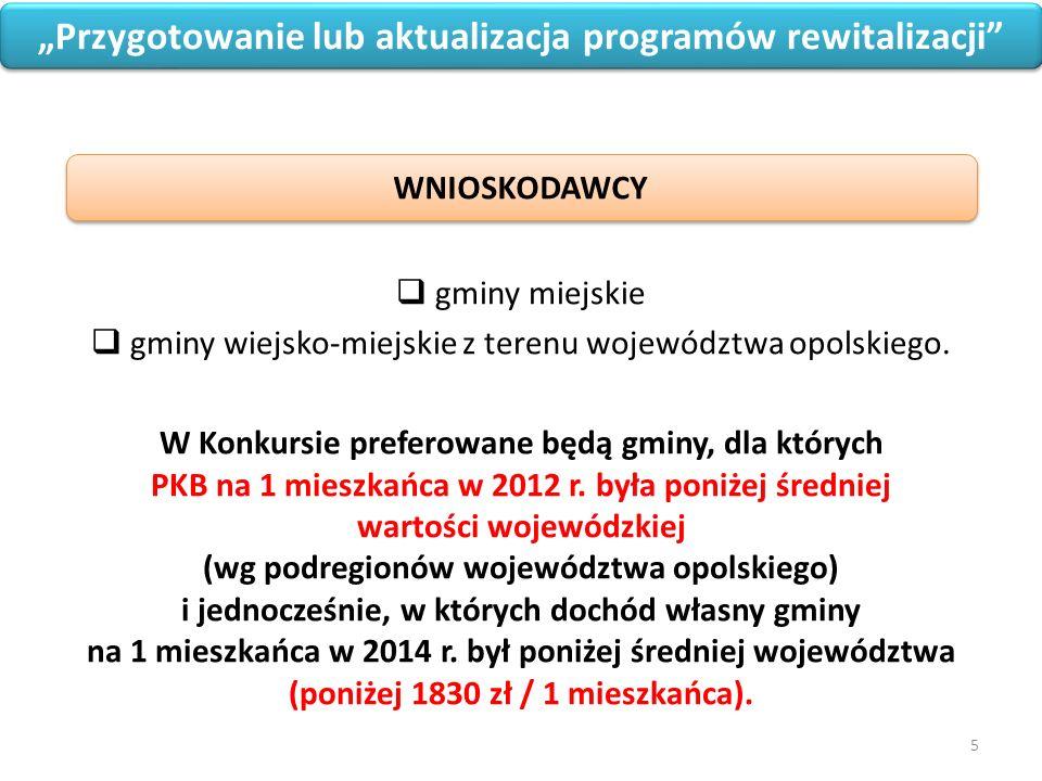 """5 """"Przygotowanie lub aktualizacja programów rewitalizacji  gminy miejskie  gminy wiejsko-miejskie z terenu województwa opolskiego."""