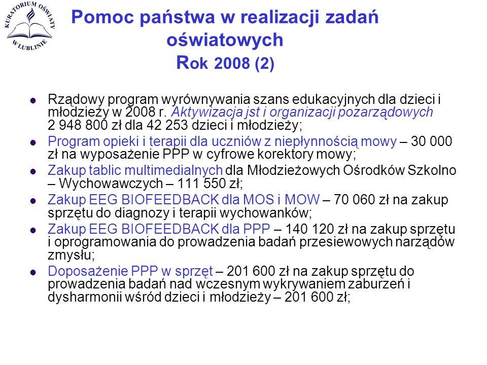 Pomoc państwa w realizacji zadań oświatowych R ok 2008 (2) Rządowy program wyrównywania szans edukacyjnych dla dzieci i młodzieży w 2008 r.