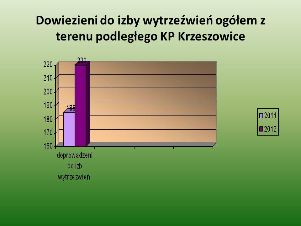 Dowiezieni do izby wytrzeźwień ogółem z terenu podległego KP Krzeszowice
