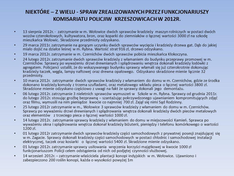 NIEKTÓRE – Z WIELU - SPRAW ZREALIZOWANYCH PRZEZ FUNKCJONARIUSZY KOMISARIATU POLICJIW KRZESZOWICACH W 2012R. 13 sierpnia 2012r. - zatrzymanie w m. Woło