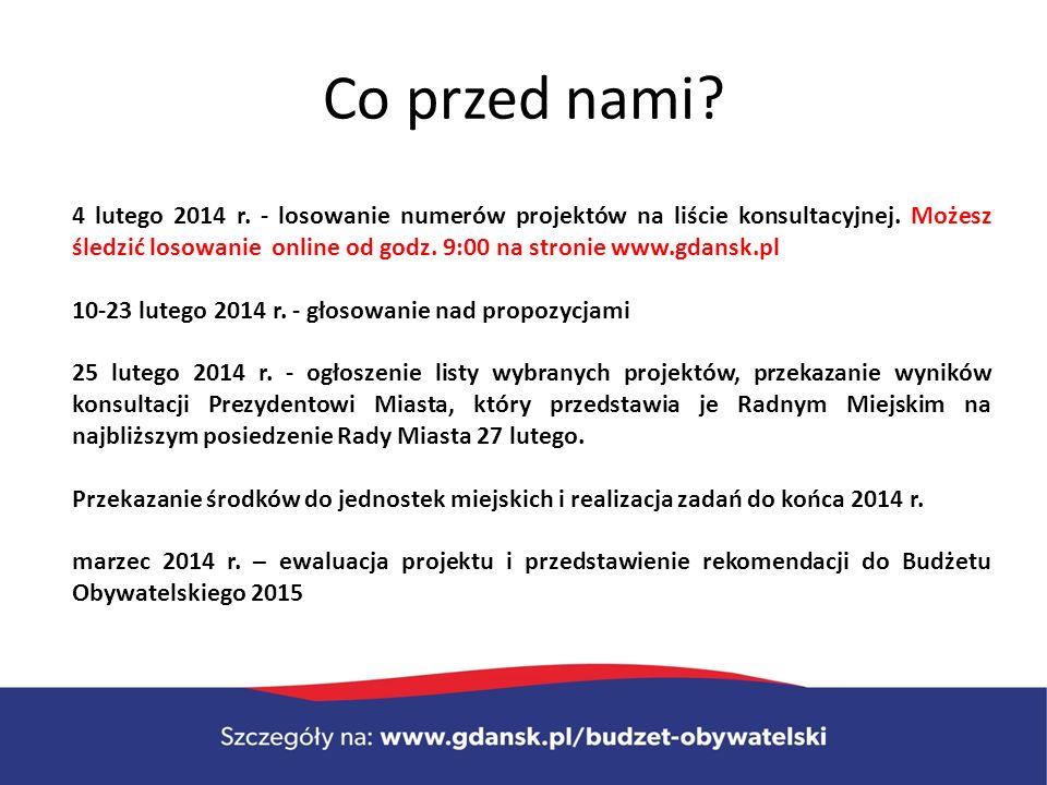 Co przed nami. 4 lutego 2014 r. - losowanie numerów projektów na liście konsultacyjnej.