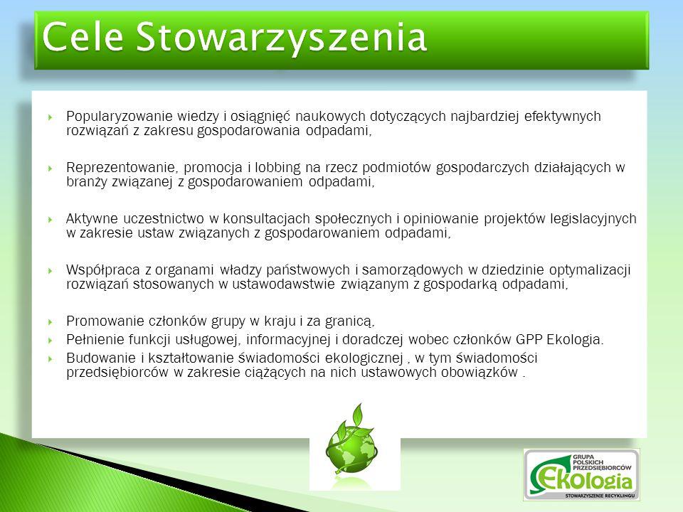  Popularyzowanie wiedzy i osiągnięć naukowych dotyczących najbardziej efektywnych rozwiązań z zakresu gospodarowania odpadami,  Reprezentowanie, pro