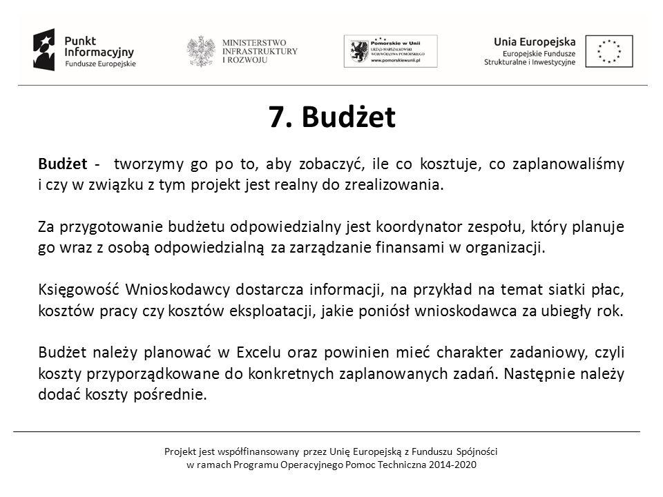 Projekt jest współfinansowany przez Unię Europejską z Funduszu Spójności w ramach Programu Operacyjnego Pomoc Techniczna 2014-2020 Budżet - tworzymy go po to, aby zobaczyć, ile co kosztuje, co zaplanowaliśmy i czy w związku z tym projekt jest realny do zrealizowania.