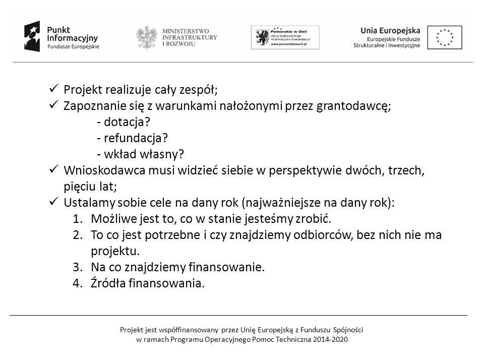 Projekt jest współfinansowany przez Unię Europejską z Funduszu Spójności w ramach Programu Operacyjnego Pomoc Techniczna 2014-2020 Projekt realizuje cały zespół; Zapoznanie się z warunkami nałożonymi przez grantodawcę; - dotacja.
