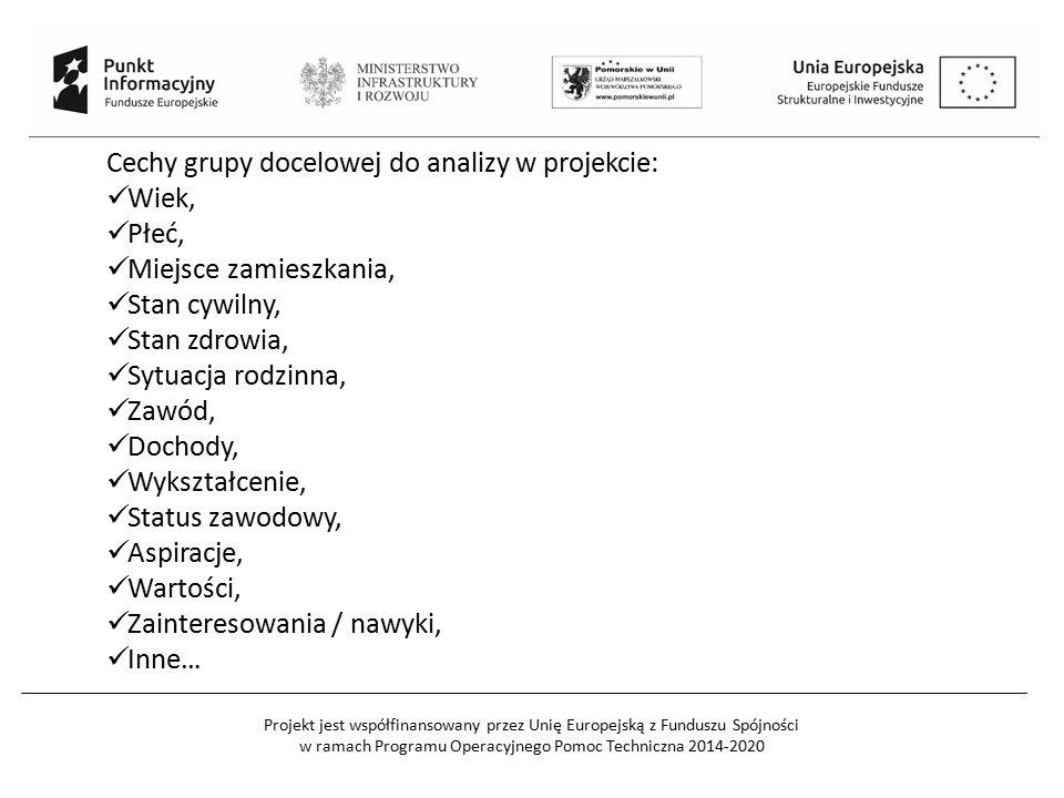 Projekt jest współfinansowany przez Unię Europejską z Funduszu Spójności w ramach Programu Operacyjnego Pomoc Techniczna 2014-2020 Cechy grupy docelowej do analizy w projekcie: Wiek, Płeć, Miejsce zamieszkania, Stan cywilny, Stan zdrowia, Sytuacja rodzinna, Zawód, Dochody, Wykształcenie, Status zawodowy, Aspiracje, Wartości, Zainteresowania / nawyki, Inne…