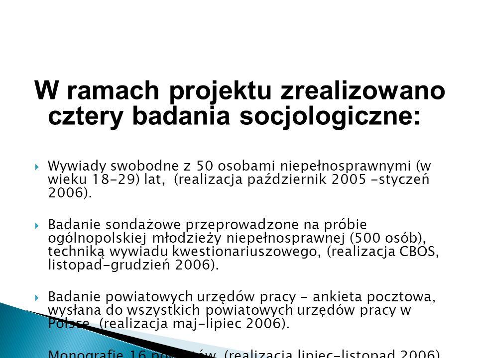 W ramach projektu zrealizowano cztery badania socjologiczne:  Wywiady swobodne z 50 osobami niepełnosprawnymi (w wieku 18-29) lat, (realizacja październik 2005 -styczeń 2006).