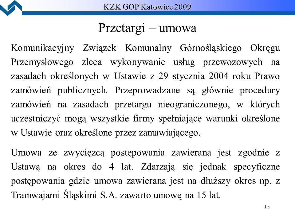 15 KZK GOP Katowice 2009 Przetargi – umowa Komunikacyjny Związek Komunalny Górnośląskiego Okręgu Przemysłowego zleca wykonywanie usług przewozowych na zasadach określonych w Ustawie z 29 stycznia 2004 roku Prawo zamówień publicznych.