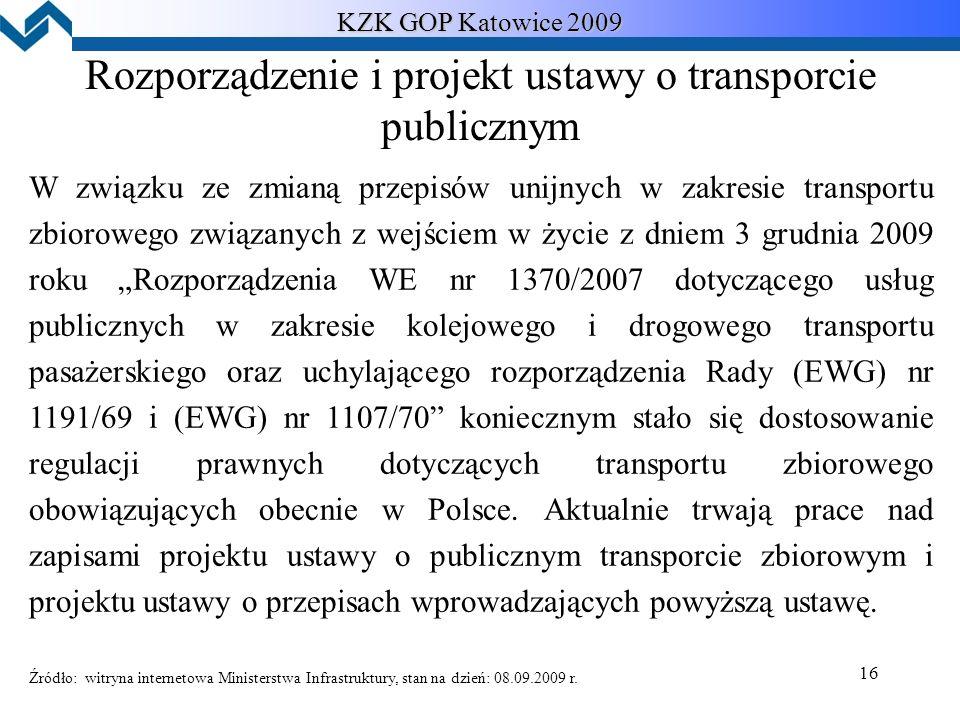 """16 KZK GOP Katowice 2009 Rozporządzenie i projekt ustawy o transporcie publicznym W związku ze zmianą przepisów unijnych w zakresie transportu zbiorowego związanych z wejściem w życie z dniem 3 grudnia 2009 roku """"Rozporządzenia WE nr 1370/2007 dotyczącego usług publicznych w zakresie kolejowego i drogowego transportu pasażerskiego oraz uchylającego rozporządzenia Rady (EWG) nr 1191/69 i (EWG) nr 1107/70 koniecznym stało się dostosowanie regulacji prawnych dotyczących transportu zbiorowego obowiązujących obecnie w Polsce."""