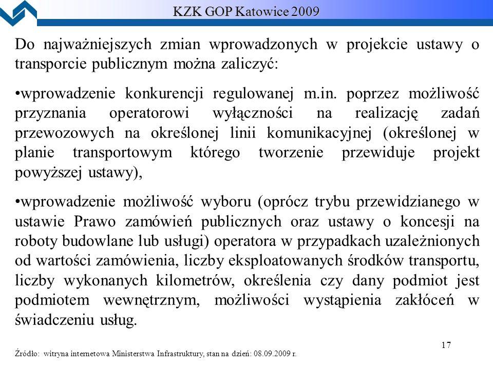 17 KZK GOP Katowice 2009 Do najważniejszych zmian wprowadzonych w projekcie ustawy o transporcie publicznym można zaliczyć: wprowadzenie konkurencji regulowanej m.in.