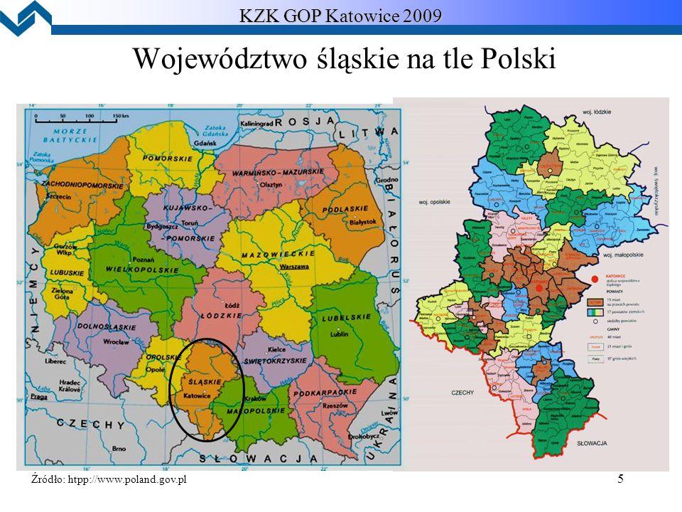 5 Województwo śląskie na tle Polski KZK GOP Katowice 2009 Źródło: htpp://www.poland.gov.pl