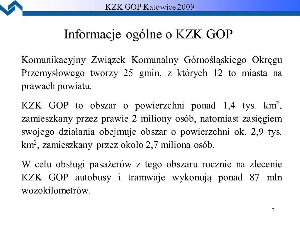 7 KZK GOP Katowice 2009 Informacje ogólne o KZK GOP Komunikacyjny Związek Komunalny Górnośląskiego Okręgu Przemysłowego tworzy 25 gmin, z których 12 to miasta na prawach powiatu.