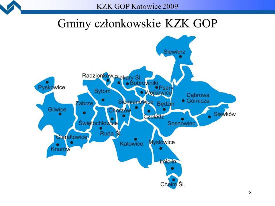 8 Gminy członkowskie KZK GOP KZK GOP Katowice 2009
