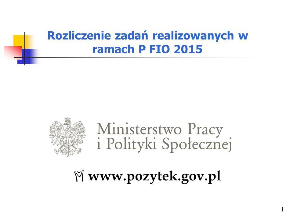 1 Rozliczenie zadań realizowanych w ramach P FIO 2015