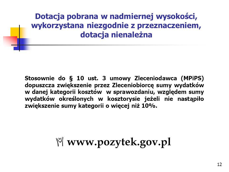 12 Dotacja pobrana w nadmiernej wysokości, wykorzystana niezgodnie z przeznaczeniem, dotacja nienależna Stosownie do § 10 ust.
