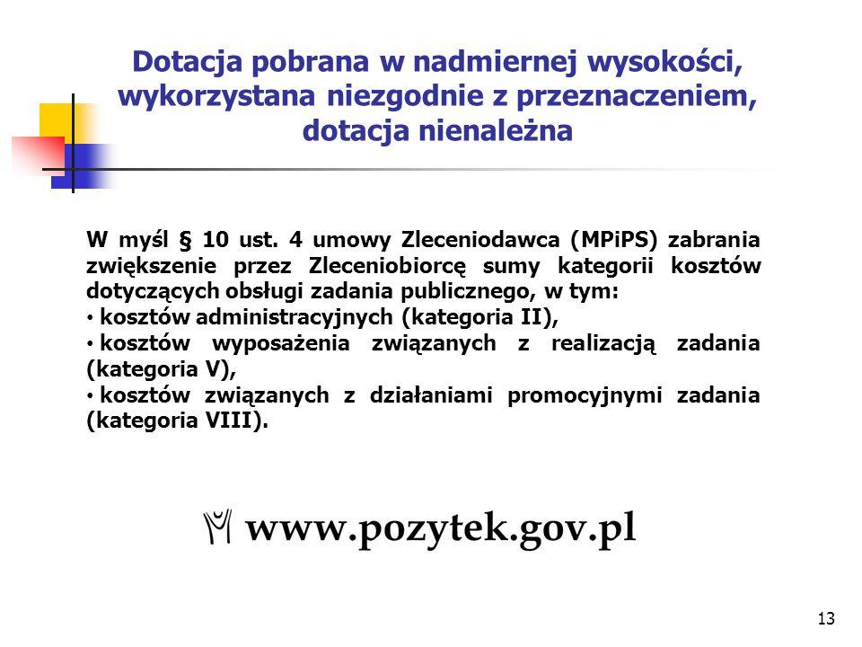 13 Dotacja pobrana w nadmiernej wysokości, wykorzystana niezgodnie z przeznaczeniem, dotacja nienależna W myśl § 10 ust.